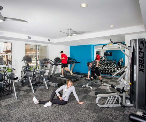 Fitness center at 23 Twenty Lincoln student apartments