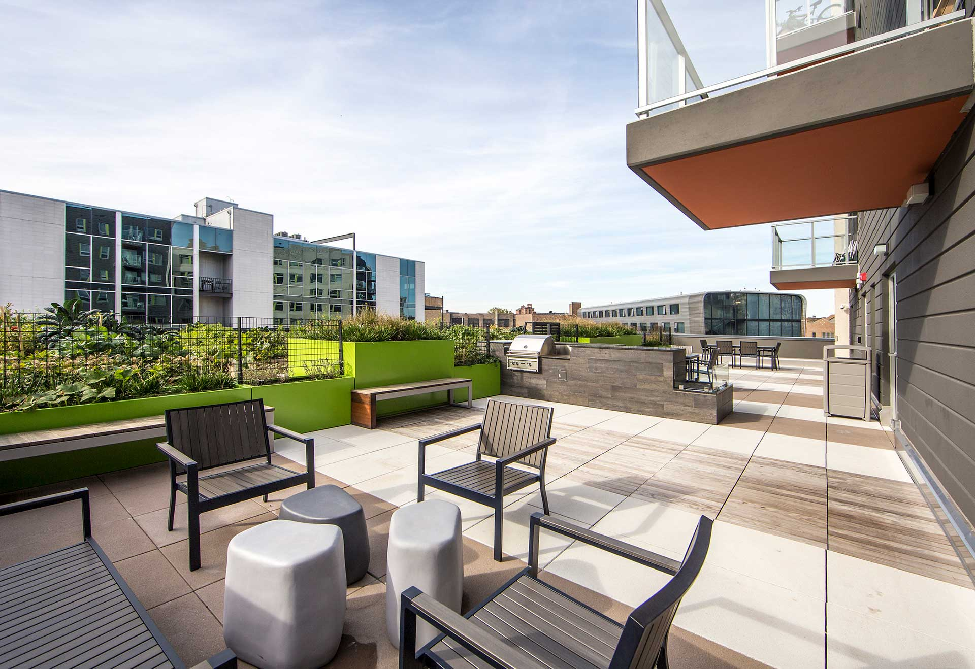 Roof deck seating area at Clybourn 1200
