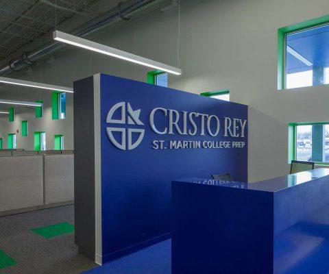 Reception desk at Cristo Rey St. Martin College Prep