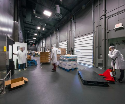 Interior view of loading docks at DO & CO LAX kitchen facility