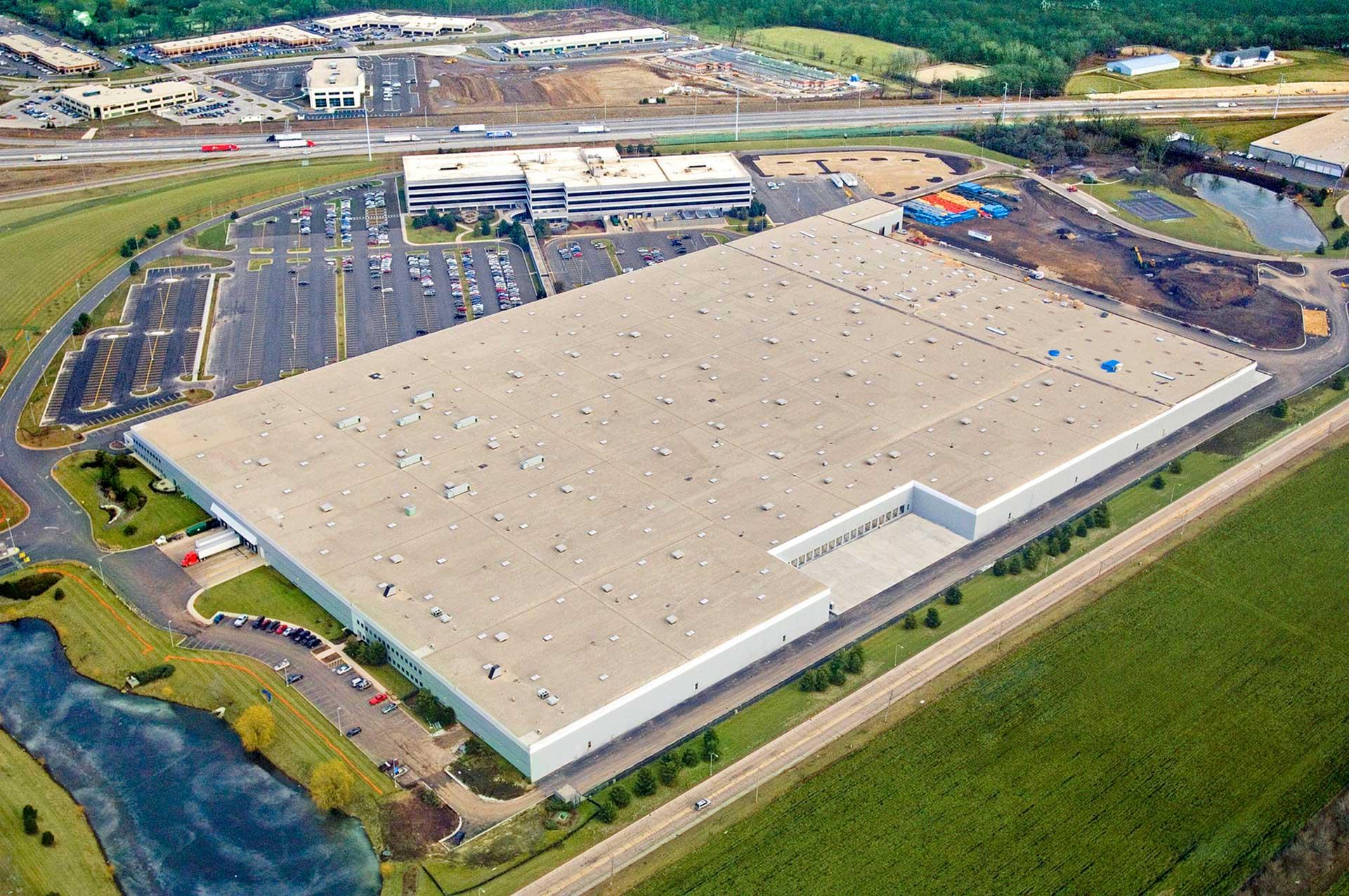 Aerial view of John B. Sanfilippo & Son corporate headquarters and processing/distribution facility